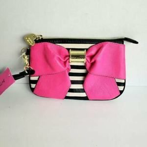 Betsey Johnson Wristlet Pink Black White Mini Bow